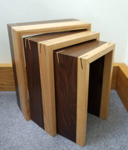 Keith Shorrock - Black Walnut and Ash nest of tables