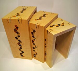 Keith Shorrock - Nest of Tables in Curly Maple with Yew and Black Walnut inserts