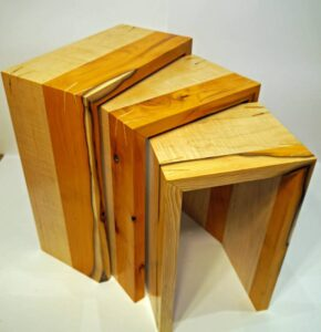 Keith Shorrock - Yew and Curly Maple nest of tables